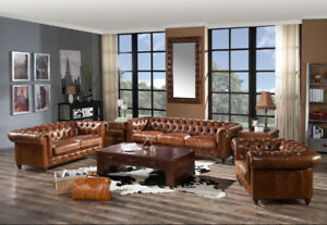 Tufted Leather Chesterfield Sofa (AND SET)