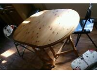 Good quality pine drop side kitchen / dining table with chairs
