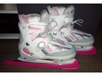 SFR Pink/White/Grey Adjustable Ice Skates with Blade Guards, Adult Size 4-7