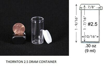 Thornton 2.5 Dram Clear Plastic Vial Container Small Collector Insect Holder 20x