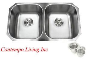 32 stainless steel double 5050 bowl 18 gauge undermount kitchen - Double Kitchen Sink