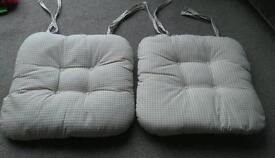 PAIR OF SHABBY CHIC SEAT PAD / CHAIR CUSHIONS