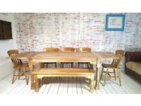 Dining Table Natural Extendable Rustic Farmhouse Hardwood Finish with Matching Benches & Chairs