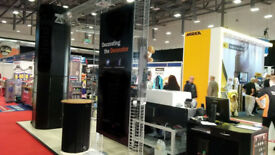 Exibition Stand 5 sq mtr inclusive of wooden flooring and 2 cash registar stands used once. Collect