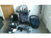 Mamas and Papas: Charcoal Sola Carrycot/Pushchair/Isofix Car Seat full travel system -well cared for