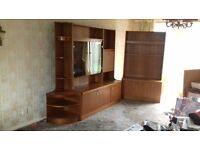 Living Room Teak Wall Cabinets with built in lighting for effect