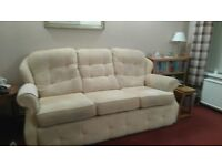 G plan 3 seater sofa and reclining chair