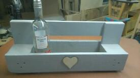 Shabby chic wooden wine rack painted in French grey