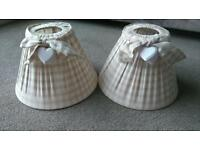 PAIR OF CUTE SHABBY CHIC STYLE TABLE / BEDSIDE LAMP SHADES
