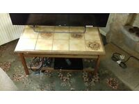 Coffee Table with Inlaid Tiles of country tiles