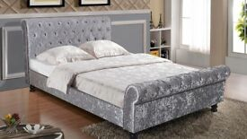 NEW - Sleigh bed in silver crush velvet with mattress - delivery available