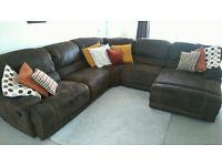 Harveys 5 Piece Sofa/Recliner Corner Unit - Brown Suede