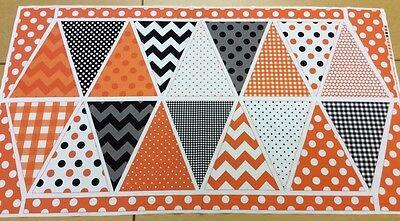 Riley Blake - Orange + Black Bunting Panel - Halloween - 100% Cotton Fabric](Halloween Bunting Panel)