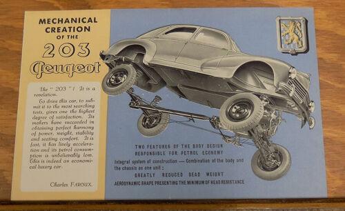 c1950 PEUGEOT MODEL 203 Automobile Brochure