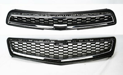 (Honeycomb Mesh Chrome Front Bumper Upper & Lower Grille for Chevy Malibu 2013)