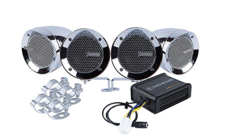 Memphis Audio MXABMC4 4) Chrome Speakers+Amp For Motorcycle/ATV/Scooter/Dirtbike