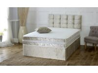 Luxury Gold Crushed Velvet King Size Bed and Mattress (Free delivery)