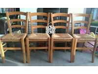LOVELY SET OF 4 SOLID WOOD DINING CHAIRS