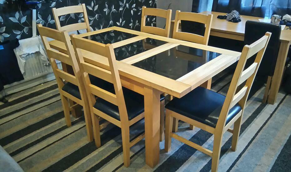 Harveys Solid Oak And Granite Extending Dining Table Chairs