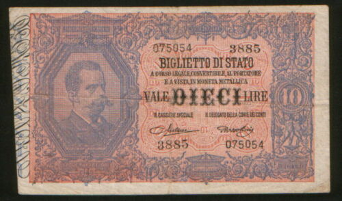 Italy 10 Lire 1923. P-20h. F.