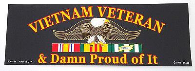 VIETNAM VETERAN & DAMM PROUD OF IT Military Vet Bumper Sticker BM0156 EE