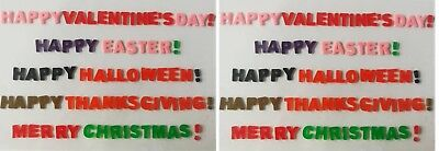 2 Holiday Window Cling Gels Happy Halloween Thanksgiving Merry XMAS Valentine (Happy Halloween Merry Christmas)