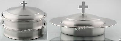 2 Stainless Steel Communion Tray   1 Bread Plate With Lid Matte  Religious Edh