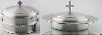 Stainless Steel Stacking Communion Tray With Bread Plate Set