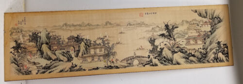 Antique Chinese Republic 20th Century Landscape Painting Copy on Silk Signed