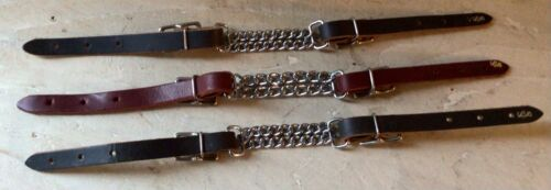 Lot of 3 Double Curb Chains with Leather Ends - Brand New