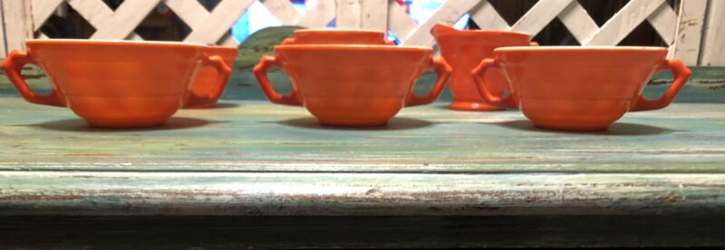 Lot Vintage HAZEL ATLAS Orange Moderntone Platonite Bowls Cup Sugar Creamer