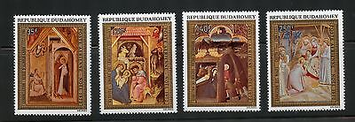 Dahomey Complete MNH Set #C176-179 Christmas, Religion Paintings Stamps