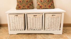 Brand New White Shabby Chic 3 Drawer Wicker Storage Unit Drawers Hallway Bench