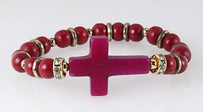 4030756 Beautiful Beaded Cross Stretch Bracelet Christian Religious Bible Jesus