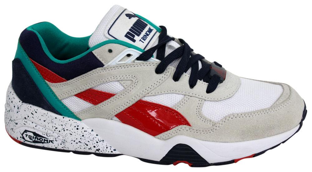 4c14d44ed5549 PUMA R698 Block Grey Black Red Trinomic Mens Running Shoes Trainers ...