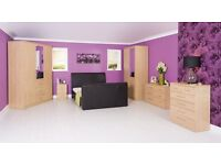 Oak veneer 4 Door 2 Drawer Shelves and Mirroed Wardrobe BRANDNEW Flatpack Fast Delivery