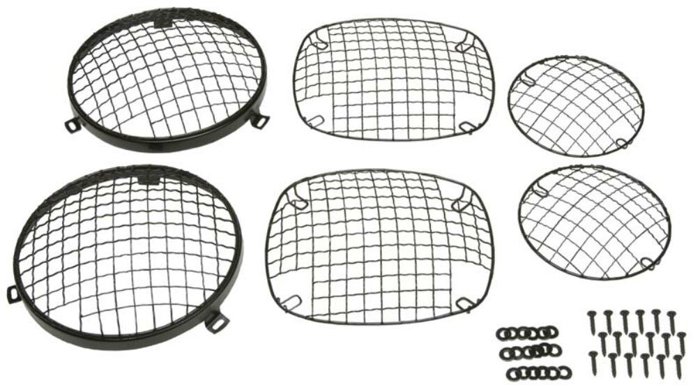 Wire Mesh Guard Set 6 pc Black Stainless for Jeep CJ 1976