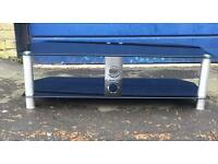 Black Glass TV stand Low stance vgc