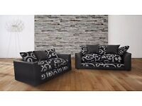 BRAND NEW-ZINA 3 & 2 SEATER SOFA IN FAUX LEATHER AND CHENILLE FABRIC - EXPRESS DELIVERY