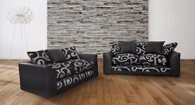 GRAND OFFER- ZINA 3 & 2 SEATER SOFA IN FAUX LEATHER AND CHENILLE FABRIC - EXPRESS DELIVERY