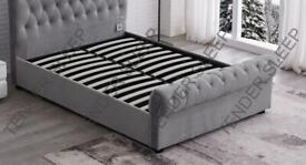 Great furniture-King Size Plush Velvet Ottoman Storage Sleigh Bed Frame in multi colors