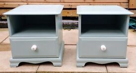 Pair of bedside cabinets - Shabby chic - Duck egg blue