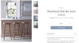 Cox and Cox Brand New Weathered Oak Bar Stools x 2
