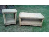 Wicker coffee table and end table for sale