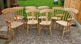 Set of 8 Natural Beech Farmhouse Kitchen Dining Chairs Including Two Carvers