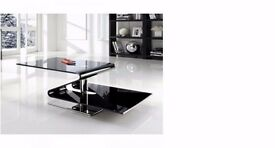 Brand New Blacklist Curved Glass Table