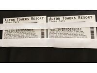 x2 Alton Towers tickets Wednesday 21st June