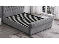 Superb Quality-King Size Plush Velvet Ottoman Storage Sleigh Bed Frame in different Colors