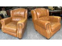 Tan brown leather chesterfield arm chairs UK Delivery