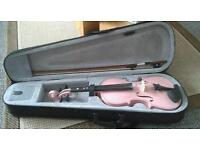 Pink violin 4/4 with bow and hard case.